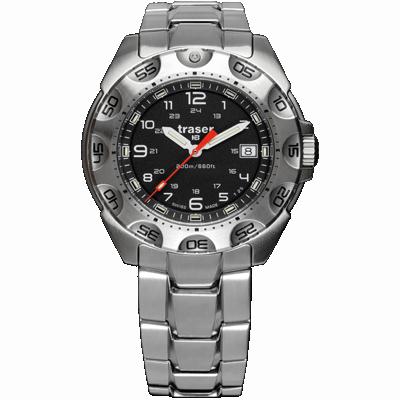 taktyczny zegarek traser P49 Survivor - czarna tarcza i stalowa bransoleta
