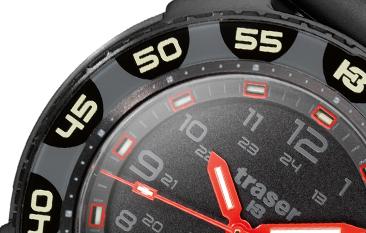 fragment tarczy zegarka traser P49 Red Alert T100