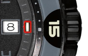 datownik w zegareku traser P49 Red Alert T100