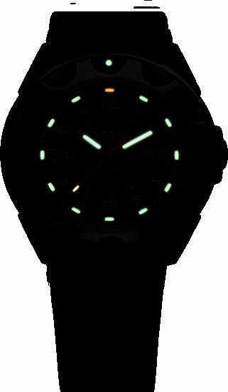 taktyczny zegarek traser P49 Survivor -stalowa koperta, czarna tarcza i czarny pasek kauczukowy w nocy