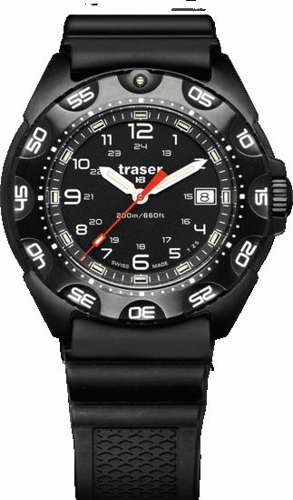 taktyczny czarny zegarek traser P49 Tornado Pro na czarnym gumowym pasku