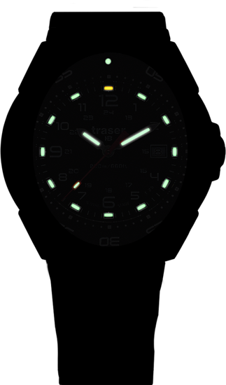 taktyczny czarny zegarek traser P49 Tornado Pro na czarnym gumowym pasku w nocy