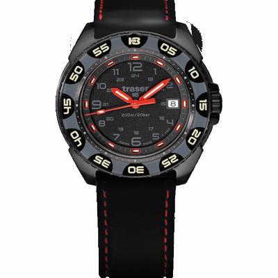 taktyczny czarny zegarek traser P49 Red Alert T100 na czarnym gumowym pasku