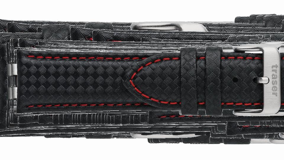 """czarny pasek skórzany powlekany materiałem o """"karbonowym"""" wzorze, przeszywany czerwoną nicią do zegarka marki traser"""