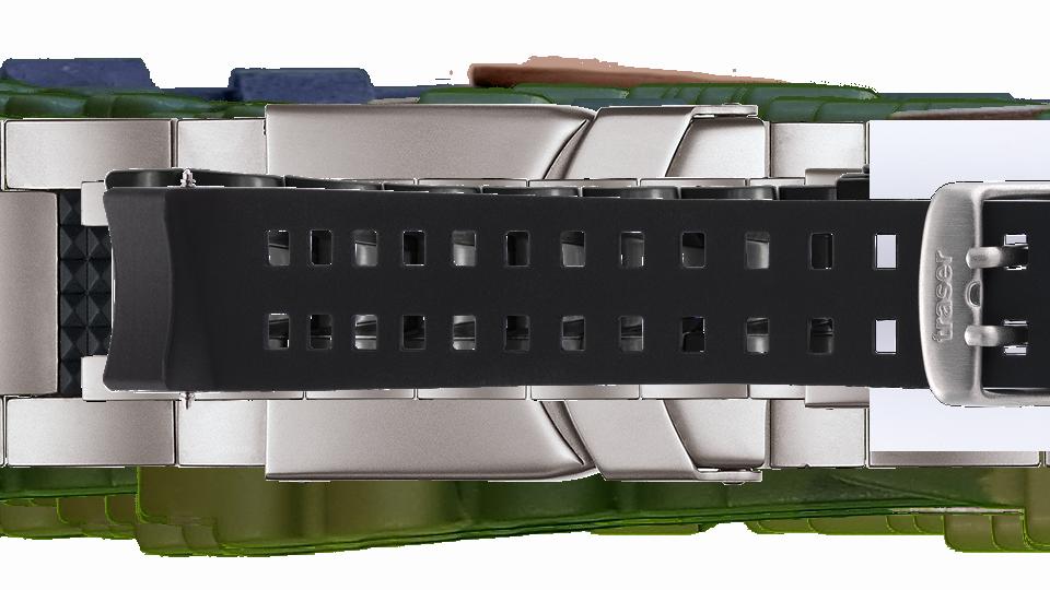 czarny pasek silikonowy z otworami do zegarka marki traser
