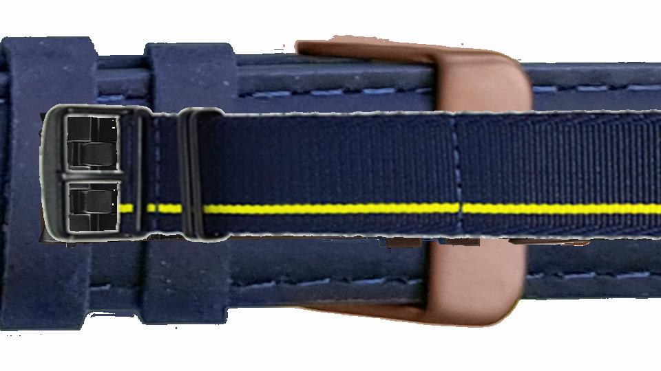 tekstylny pasek w kolorze granatowym z limonkowym paskiem do zegarka P68 Pathfinder marki traser