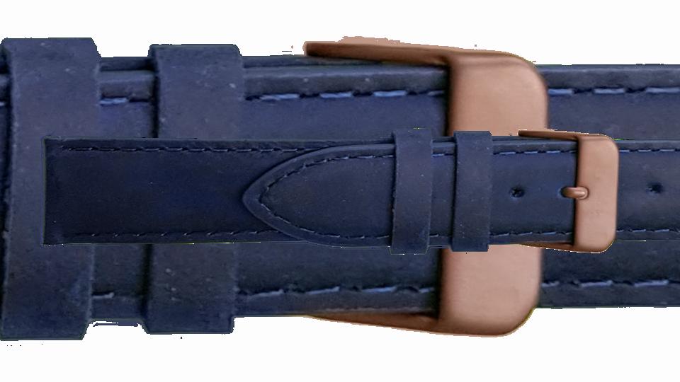 niebieski pasek skórzany z klamerką z brązu do zegarka marki traser