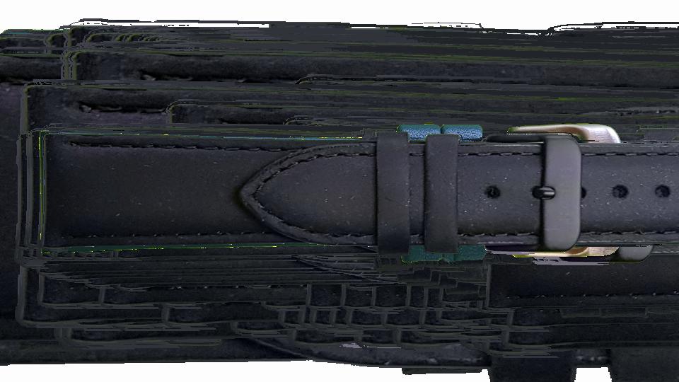 czarny pasek skózany z klasycznym czarnym zapięciem do zegarka marki traser