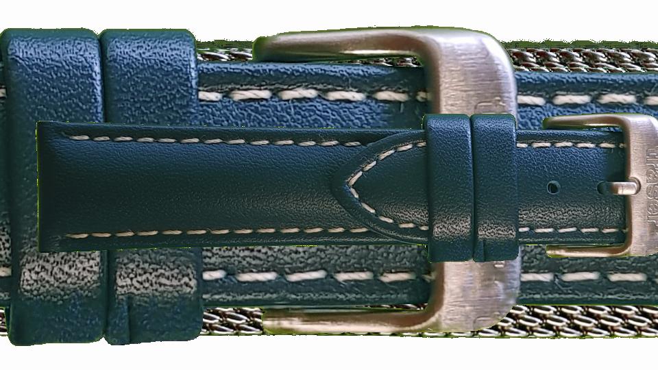 granatowy pasek skórzany z białym przeszyciem do zegarka P59 Essential marki traser