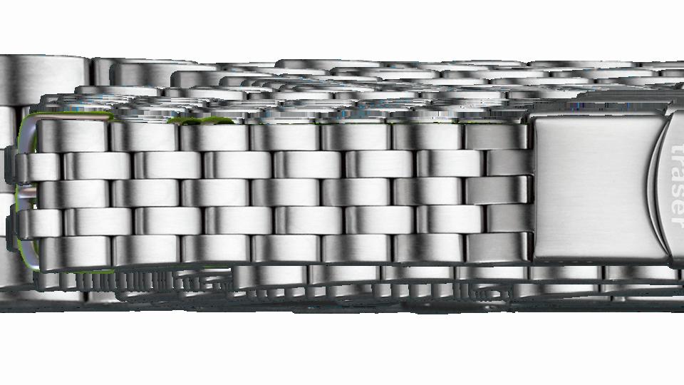 stalowa bransoleta z zapięciem blokującym do zegarka marki traser