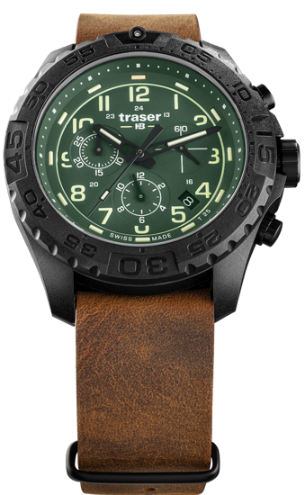 zegarek- traser- 109047-P96-OdP- Evolution-Chrono- Green-leather NATO-day