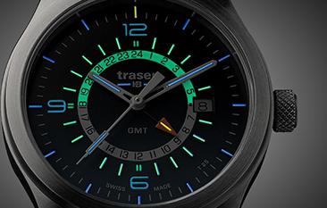 taktyczny zegarek traser P59 Aurora GMT ze świecącymi rurkami trytu