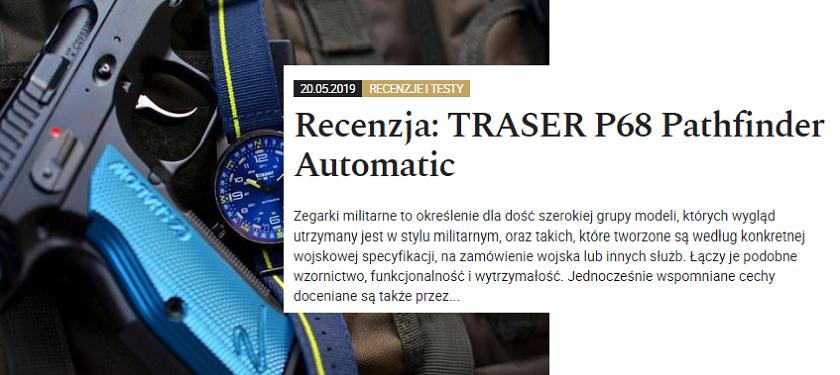 taktyczny zegarek traser P68 Pathfinder Automatic Blue z pistoletem sportowym