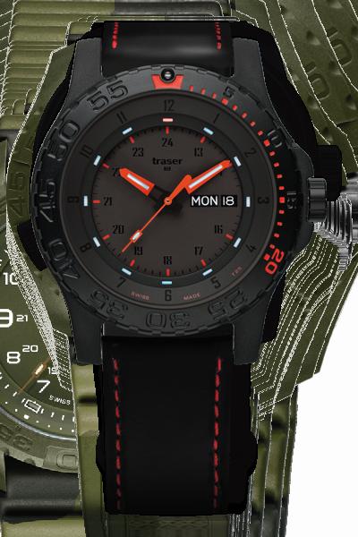 taktyczny zegarek traser P66 Red Combat na pasku