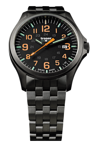 taktyczny zegarek traser P67 Officer Pro GunMetal Black/Orange na bransolecie