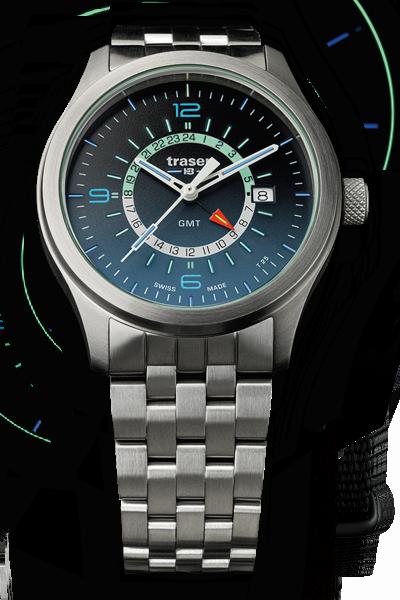 taktyczny zegarek traser P59 Aurora GMT Blue na bransolecie