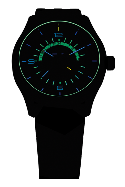 taktyczny zegarek traser P59 Aurora GMT w ciemności