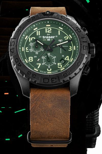 taktyczny zegarek traser P96 Evolution Chrono Green na skórzanym pasku nato