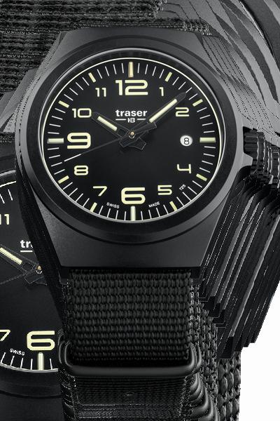taktyczny zegarek traser P59 Essential Black na tekstylnym czarnym pasku