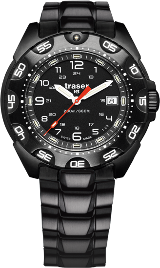 taktyczny czarny zegarek traser P49 Tornado Pro na bransolecie