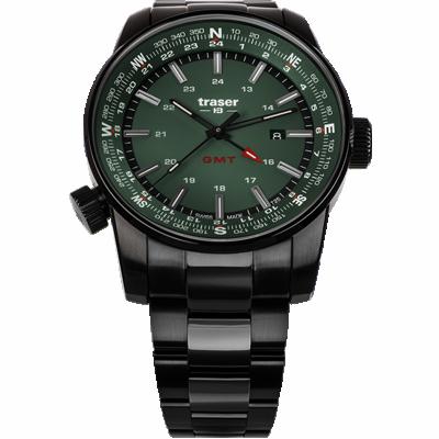 zegarek taktyczny marki traser P68 Pathfinder GMT Green. Zielona tarcza, czarna kopert i czarna bransoleta stalowa.