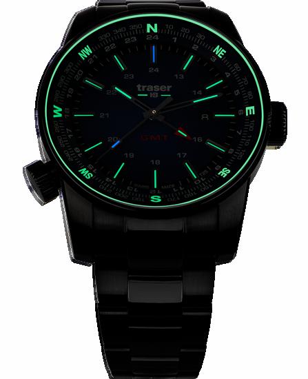 zegarek taktyczny marki traser P68 Pathfinder GMT Green całkowicie czarny ze świecącymi na zielono rurkami trytu