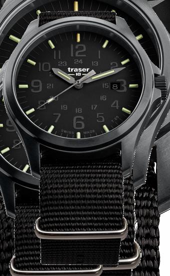 zegarek taktyczny traser Officer Pro Black z czarną tarczą, paskiem i kopertą